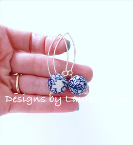 Chinoiserie Blue & White Floral Bead Dangle Earrings - Ginger jar