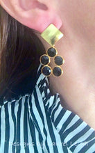 Load image into Gallery viewer, Gold and Black Onyx Gemstone Dainty Statement Earrings - Ginger jar