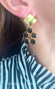 Gold and Black Onyx Gemstone Dainty Statement Earrings - Ginger jar