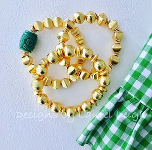 Gold and Green Chinoiserie Square Beaded Statement Bracelet - Ginger jar