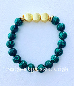 Green Malachite and Gold Beaded Bracelet - Ginger jar