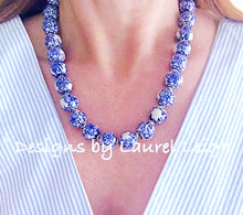 Load image into Gallery viewer, Blue and White Chinoiserie Floral Statement Necklace - Designs by Laurel Leigh