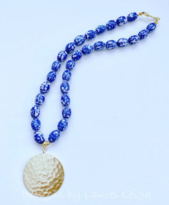 Blue and White Chinoiserie Vintage Beaded Statement Necklace - Ginger jar