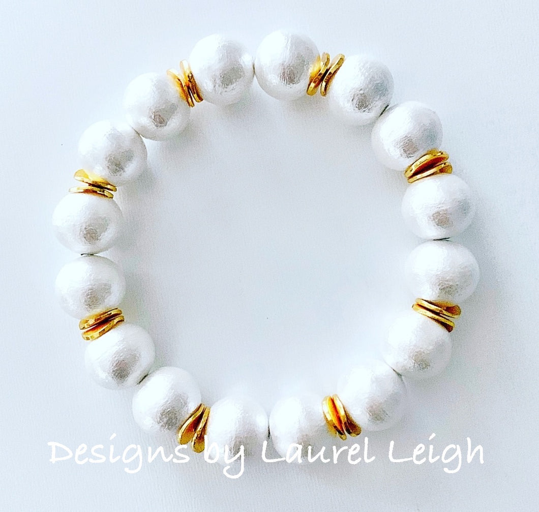 Cotton Pearl Bracelet - Ginger jar