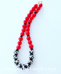 Red, Black & White Chunky Boho Game Day Necklace - Ginger jar