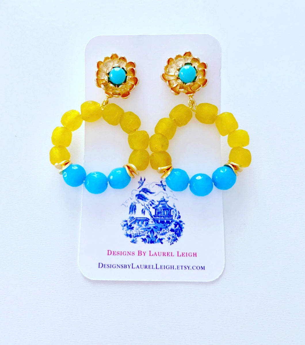Yellow & Turquoise Beaded Floral Post Hoops - Ginger jar