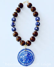 Load image into Gallery viewer, Blue Willow Chinoiserie Double Happiness Pendant Statement Necklace - Brown - Ginger jar