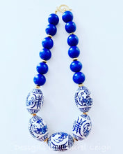 Load image into Gallery viewer, Chunky Short Chinoiserie Beaded Statement Necklace - Royal Blue - Ginger jar