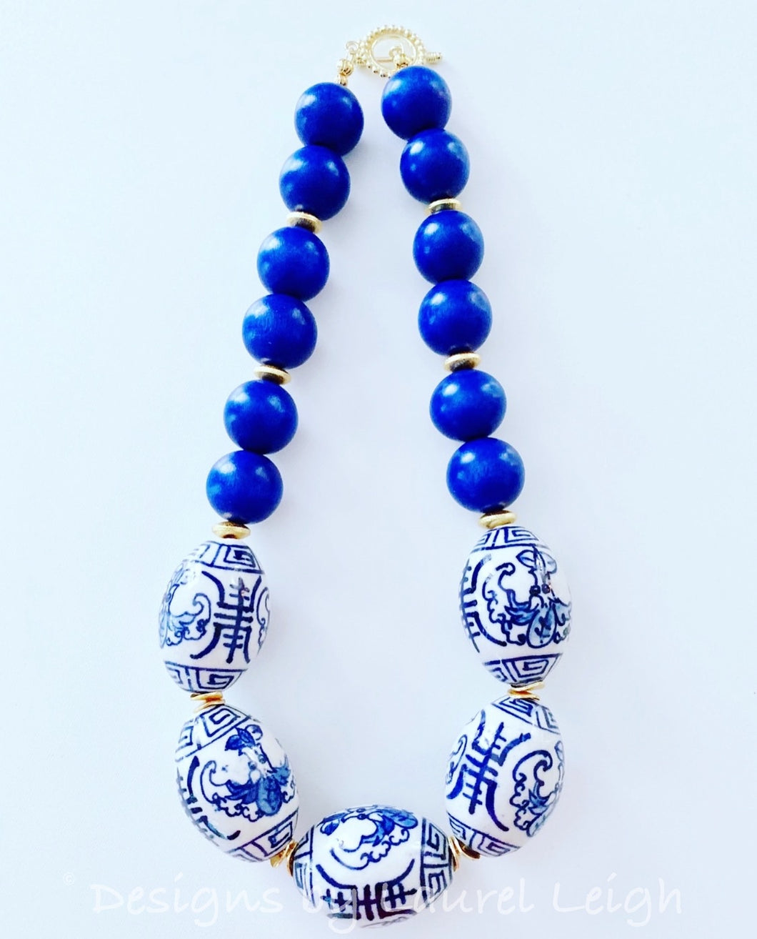 Chunky Short Chinoiserie Beaded Statement Necklace - Royal Blue - Ginger jar