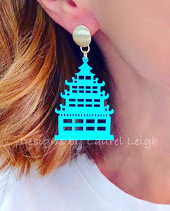 Chinoiserie Chic Pagoda Earrings - White/Black/Turquoise - Ginger jar