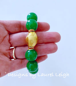 Chunky Green & Gold Gemstone Statement Bracelet - Ginger jar