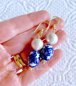 Chinoiserie Pearl Drop Earrings w/ Oval Vintage Floral Beads - Gold or Silver Finish - Ginger jar