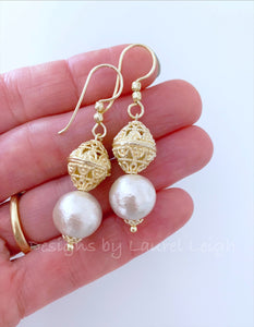 Gold Filigree and Pearl Drop Earrings - Ginger jar