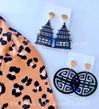 Load image into Gallery viewer, Chinoiserie Chic Pagoda Earrings - White/Black/Turquoise - Ginger jar