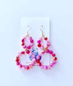 Gemstone Beaded Drop Hoops - Pink & Coral - Ginger jar