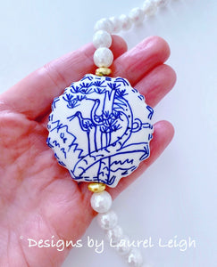 Blue and White Chinoiserie Faceted Mother of Pearl Statement Necklace - Ginger jar