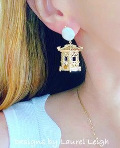 Chinoiserie Gold & Pearl Pagoda Earrings - Ginger jar