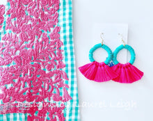 Load image into Gallery viewer, Hot Pink & Aqua Tassel Earrings - Ginger jar