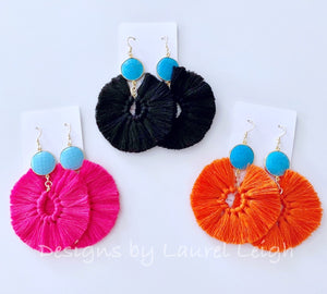 Gemstone Fan Tassel Earrings - Hot Pink & Turquoise - Ginger jar