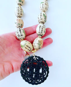 Chinoiserie Vintage Bead Statement Necklace w/ Double Happiness Pendant - Ginger jar