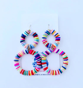 Multicolored Double Drop Hoops - Ginger jar
