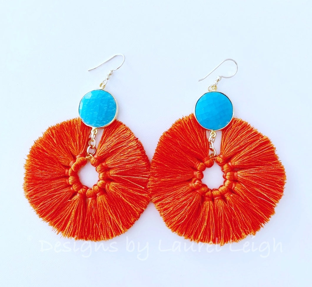 Gemstone Fan Tassel Earrings - Orange & Turquoise - Ginger jar