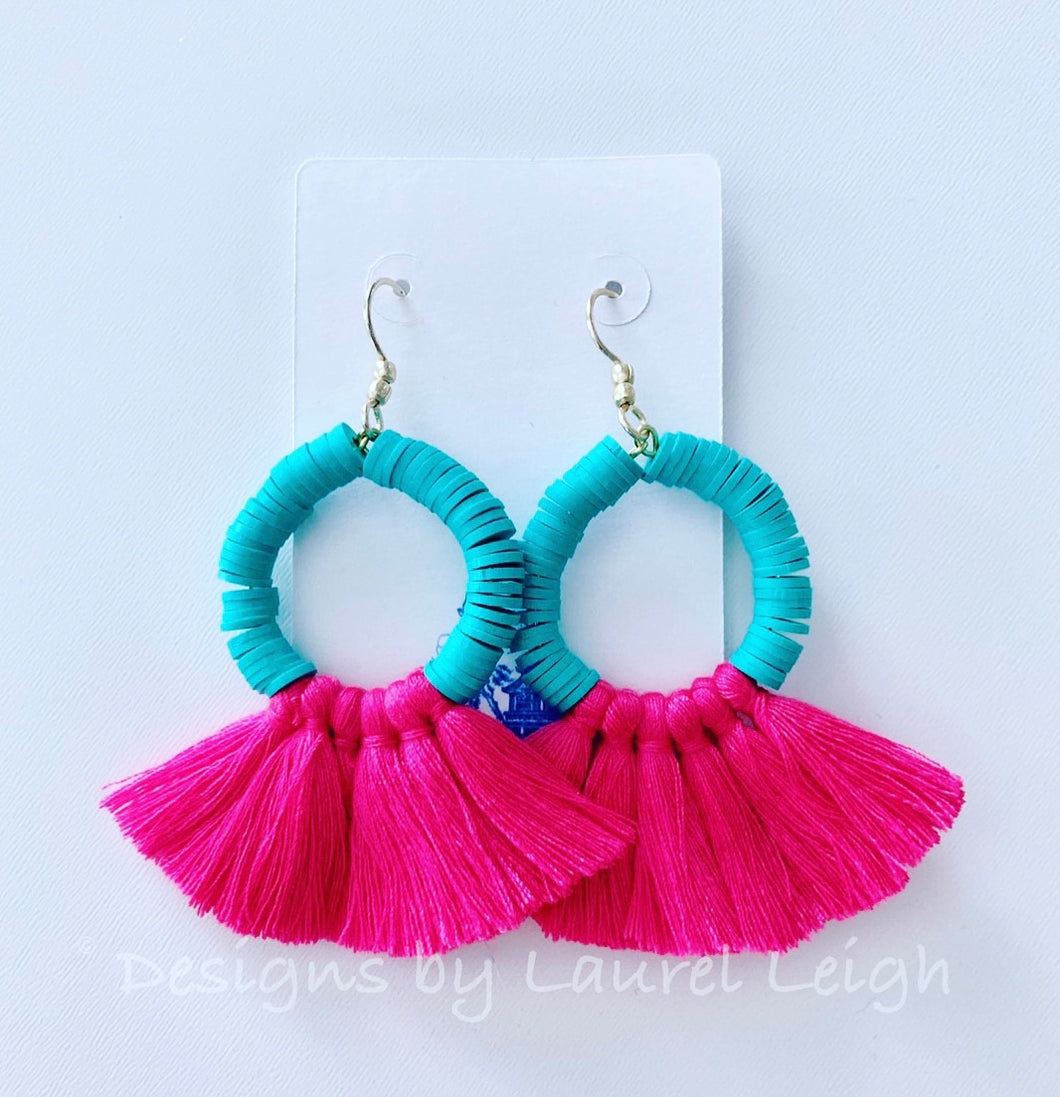 Hot Pink & Aqua Tassel Earrings - Ginger jar