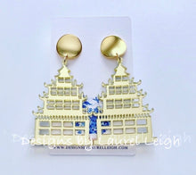 Load image into Gallery viewer, Chinoiserie Chic Pagoda Earrings - Gold or Pink - Ginger jar