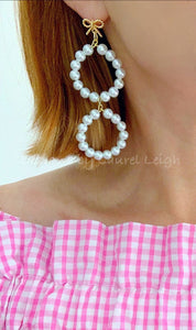 Bow & Pearl Drop Statement Earrings - Ginger jar