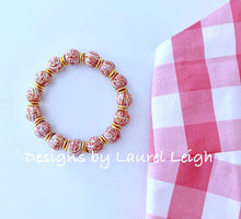 Load image into Gallery viewer, Orange and White Chinoiserie Longevity Symbol Beaded Statement Bracelet - Ginger jar