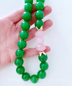 Chunky Green & Pink Nugget Statement Necklace - Ginger jar