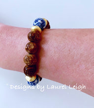 Load image into Gallery viewer, Chinoiserie Brown Carved Beaded Statement Bracelet - Ginger jar