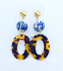 Chinoiserie Tortoise Shell Oval Hoops - Brown - Ginger jar