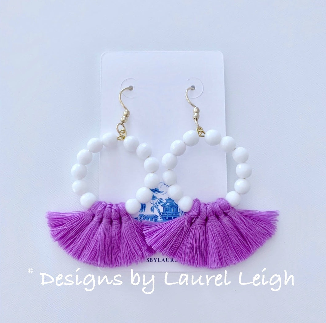 White & Lavender Gemstone Beaded Tassel Earrings - Ginger jar