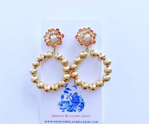 Gold Floral and Pearl Beaded Drop Hoops - Two Styles - Ginger jar