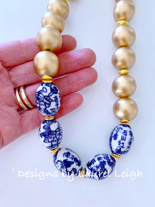 Chunky Chinoiserie Statement Necklace - Gold - Ginger jar