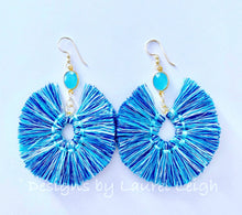 Load image into Gallery viewer, Gemstone Fan Tassel Earrings - Blue Multi - Ginger jar