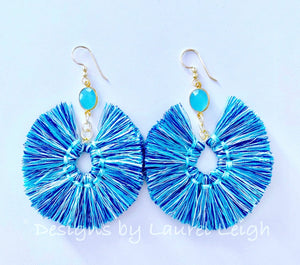 Gemstone Fan Tassel Earrings - Blue Multi - Ginger jar