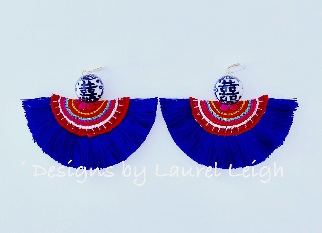 Chinoiserie Double Happiness Fan Tassel Earrings - Royal - Ginger jar