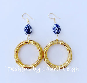 Chinoiserie Bamboo Gold Metal Hoop Statement Earrings - Ginger jar