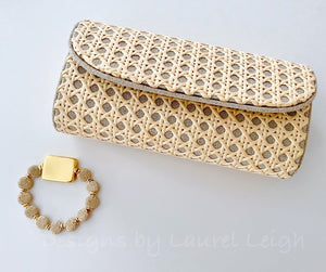 Gold and Beige/Tan Chinoiserie Coin Beaded Bracelet - Ginger jar