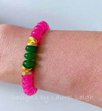 Load image into Gallery viewer, Green & Pink Gemstone Statement Bracelet - 2 Options - Ginger jar