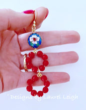 Load image into Gallery viewer, Gemstone Beaded Drop Hoops - Red & Royal Cloisonné - Ginger jar