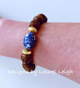 Chinoiserie Brown Carved Beaded Statement Bracelet - Ginger jar