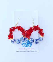 Load image into Gallery viewer, Chinoiserie Beaded Hoops - Red Bamboo Coral - Ginger jar