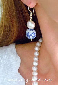 Chinoiserie Cotton Pearl Drop Earrings - Swans/Water Lilies - Gold or Silver Finish - Ginger jar