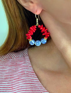 Chinoiserie Beaded Hoops - Red Bamboo Coral - Ginger jar