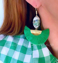 Load image into Gallery viewer, Chinoiserie Vintage Dragon Fan Tassel Earrings - 3 Colors - Ginger jar