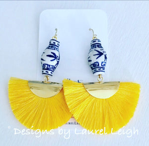 Chinoiserie Ginger Jar Fan Tassel Earrings - Yellow - Designs by Laurel Leigh