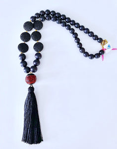 Chinoiserie Tassel Statement Necklace - BLACK and RED - Designs by Laurel Leigh
